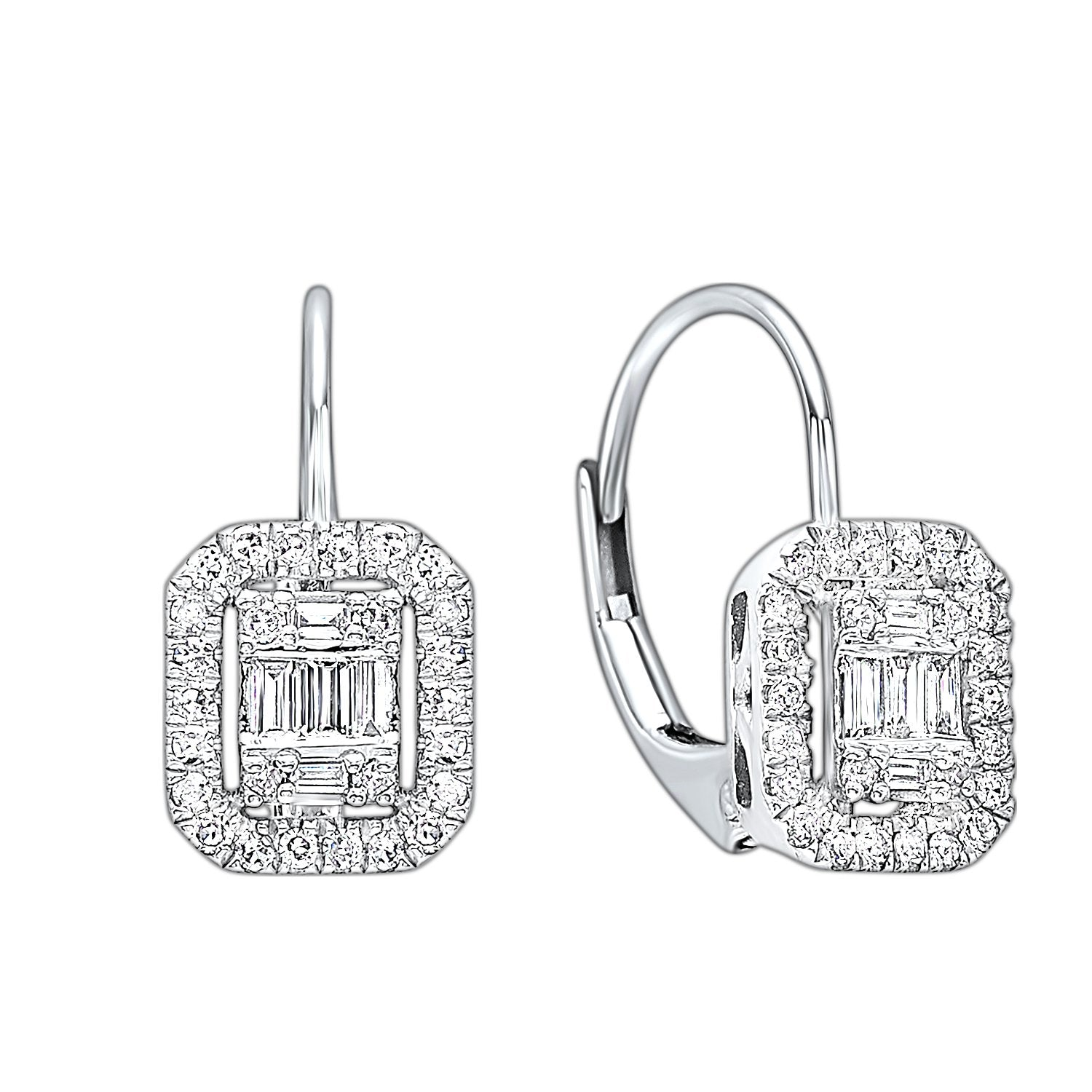 14KT Diamond Baguette Earring with Halo