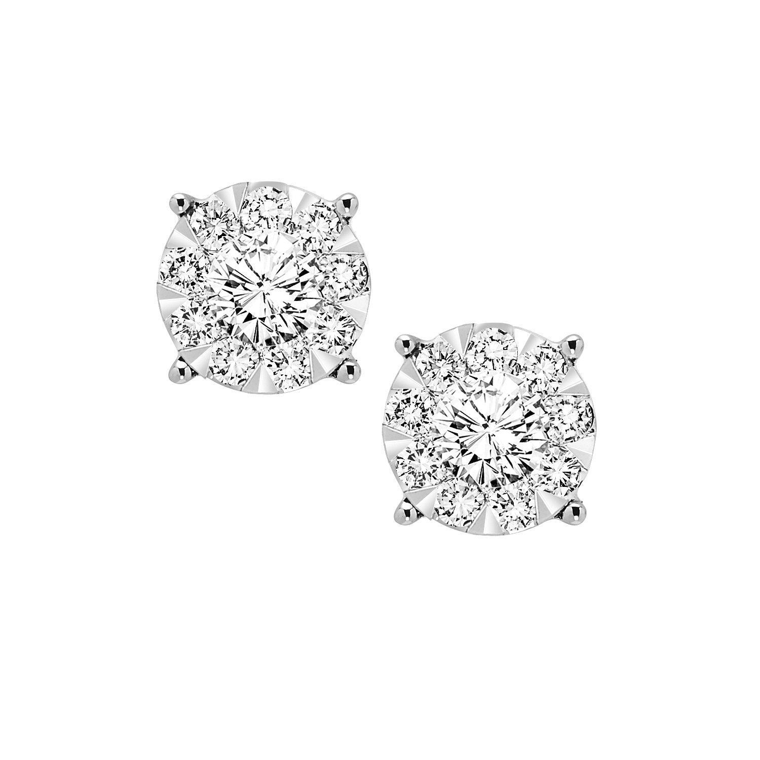 14KT White Gold Diamond Cluster Earrings