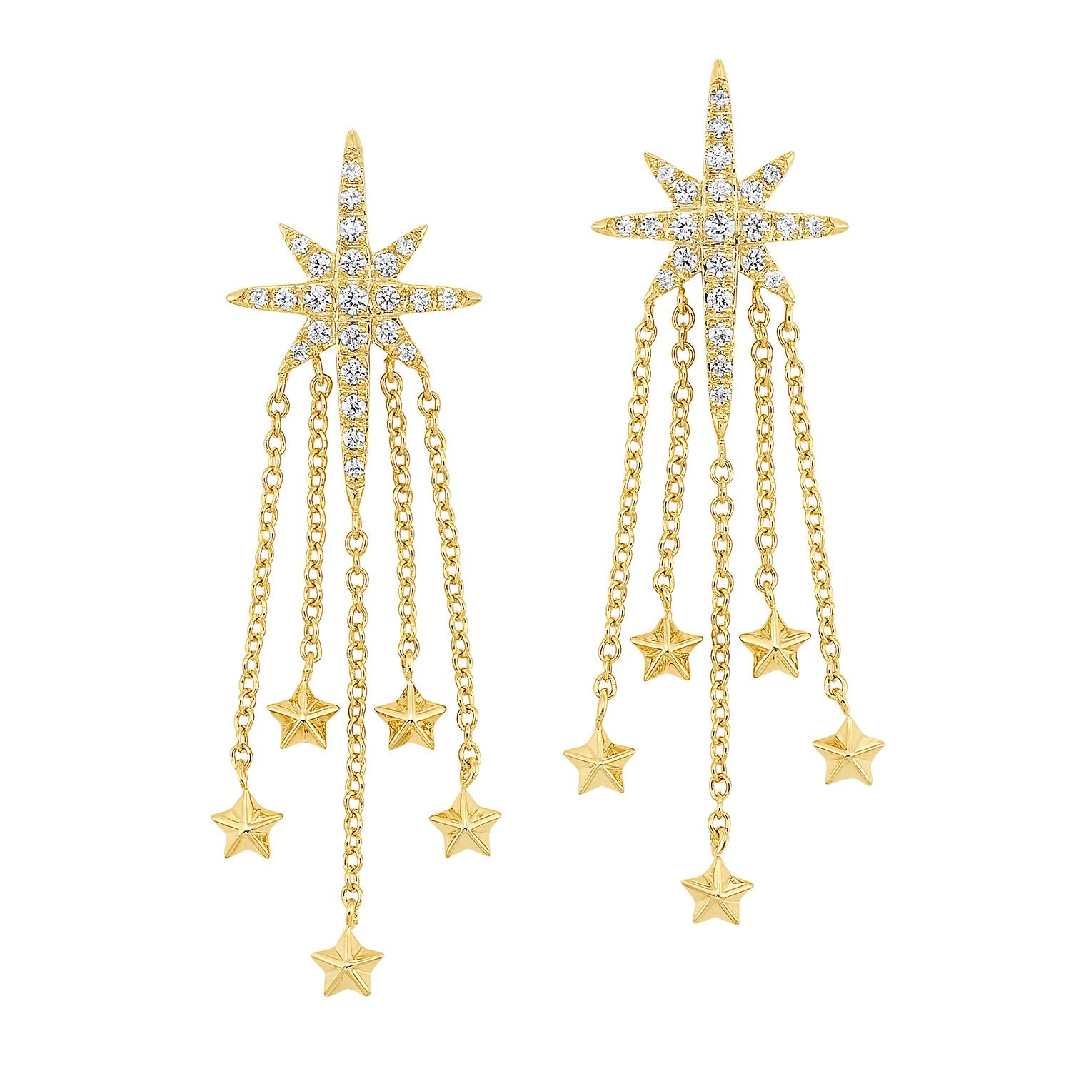 14KT Yellow Gold Star Dangle Earrings 1/4 CTW