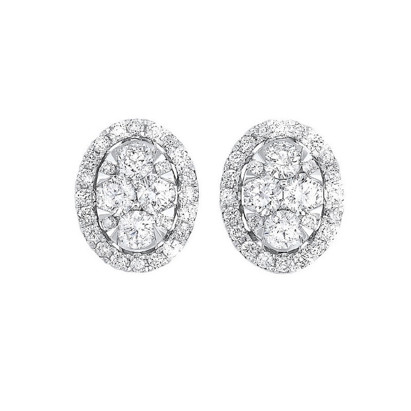 Diamond Oval Halo Cluster Stud Earrings In 14k White Gold (3/4 Ctw)