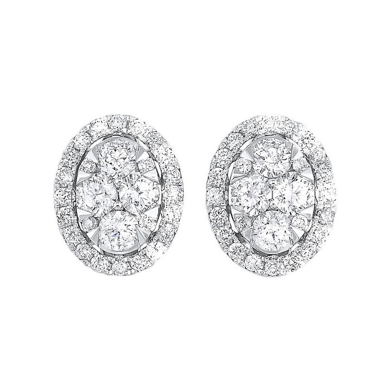 14KT Diamond Round Halo Earrings