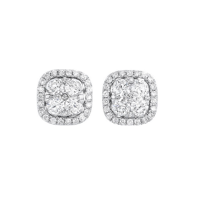 Diamond Cushion Halo Cluster Stud Earrings In 14k White Gold (1/2 Ctw)