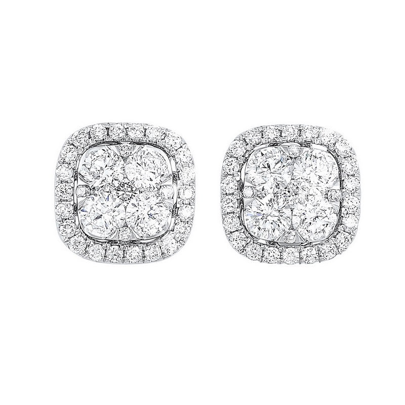 14KT Diamond Cushion Halo Earrings