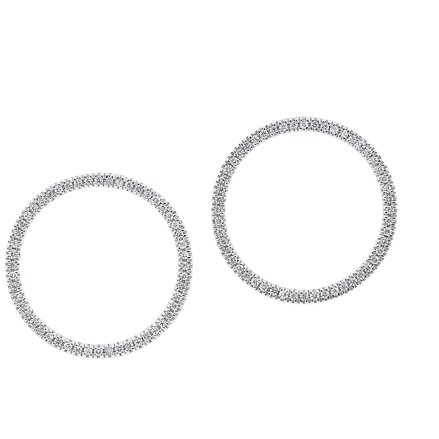 10K White Gold Open Circle Diamond Earrings