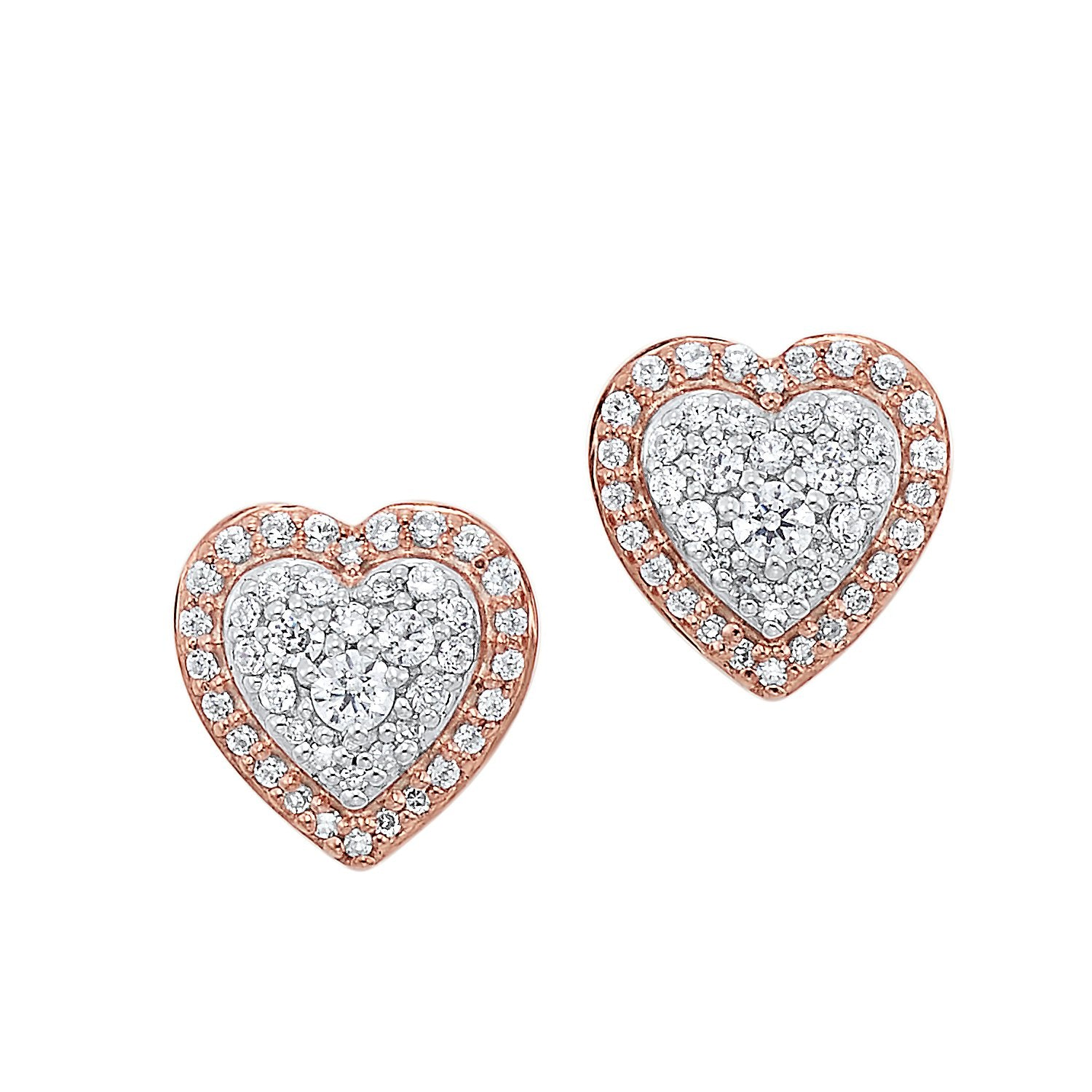 14KT Rose Gold Diamond Heart Earrings 1/4 Ctw