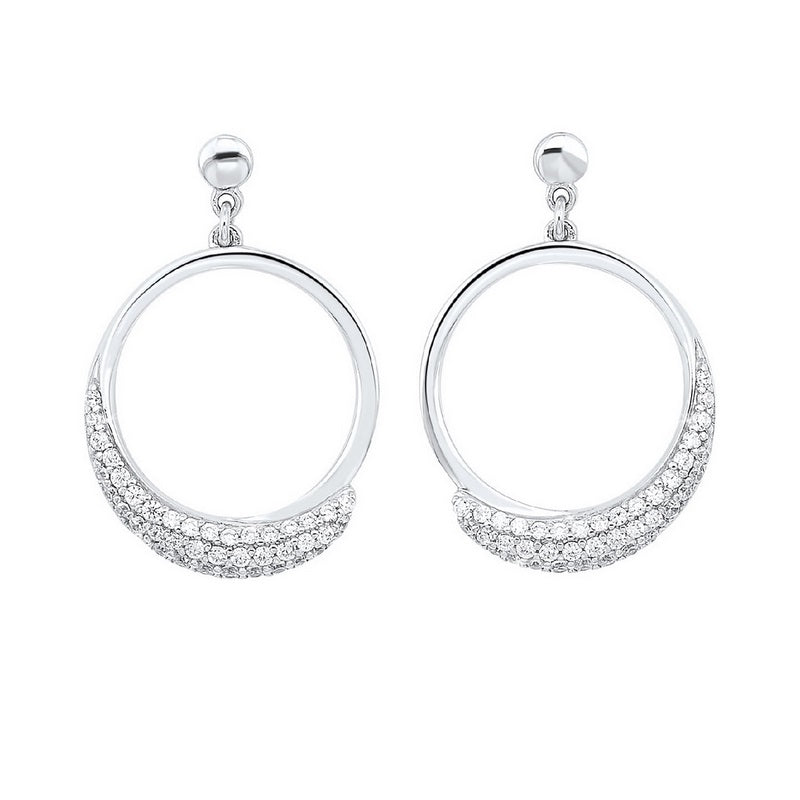 Pave Eternity Circle Hoop CZ Stud Earrings In Sterling Silver