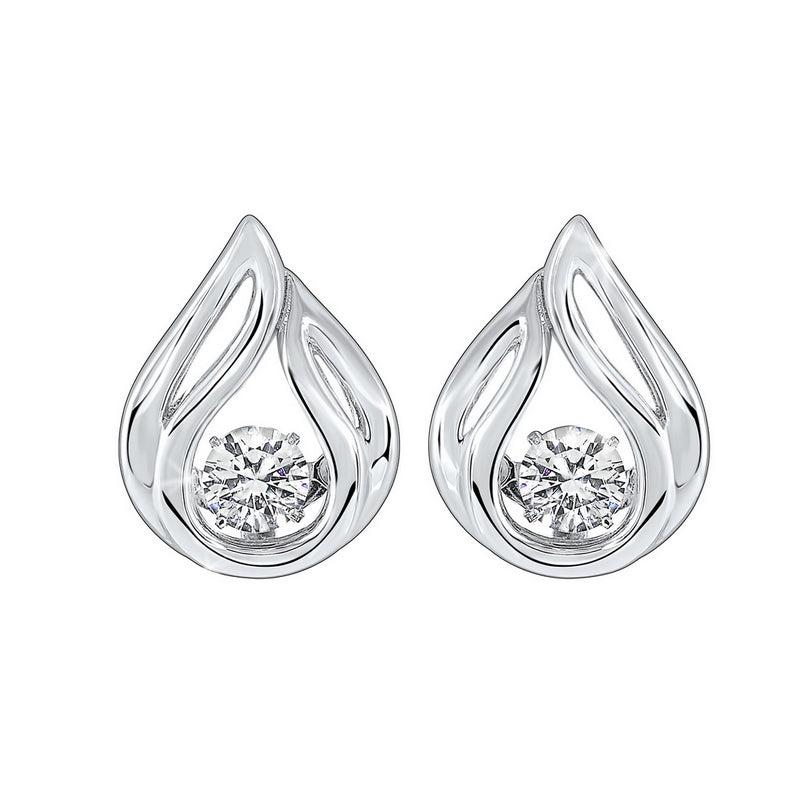 Solitaire Teardrop Anniversary CZ Earrings In Sterling Silver