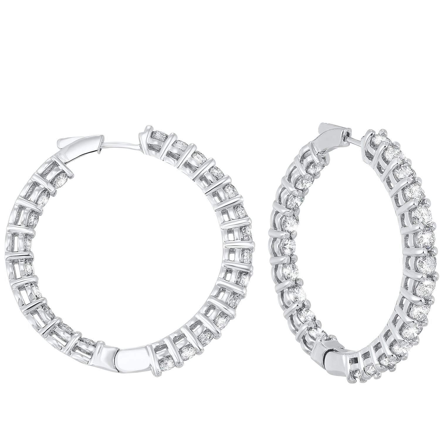 14K Round Inside-Outside Hoop Earrings