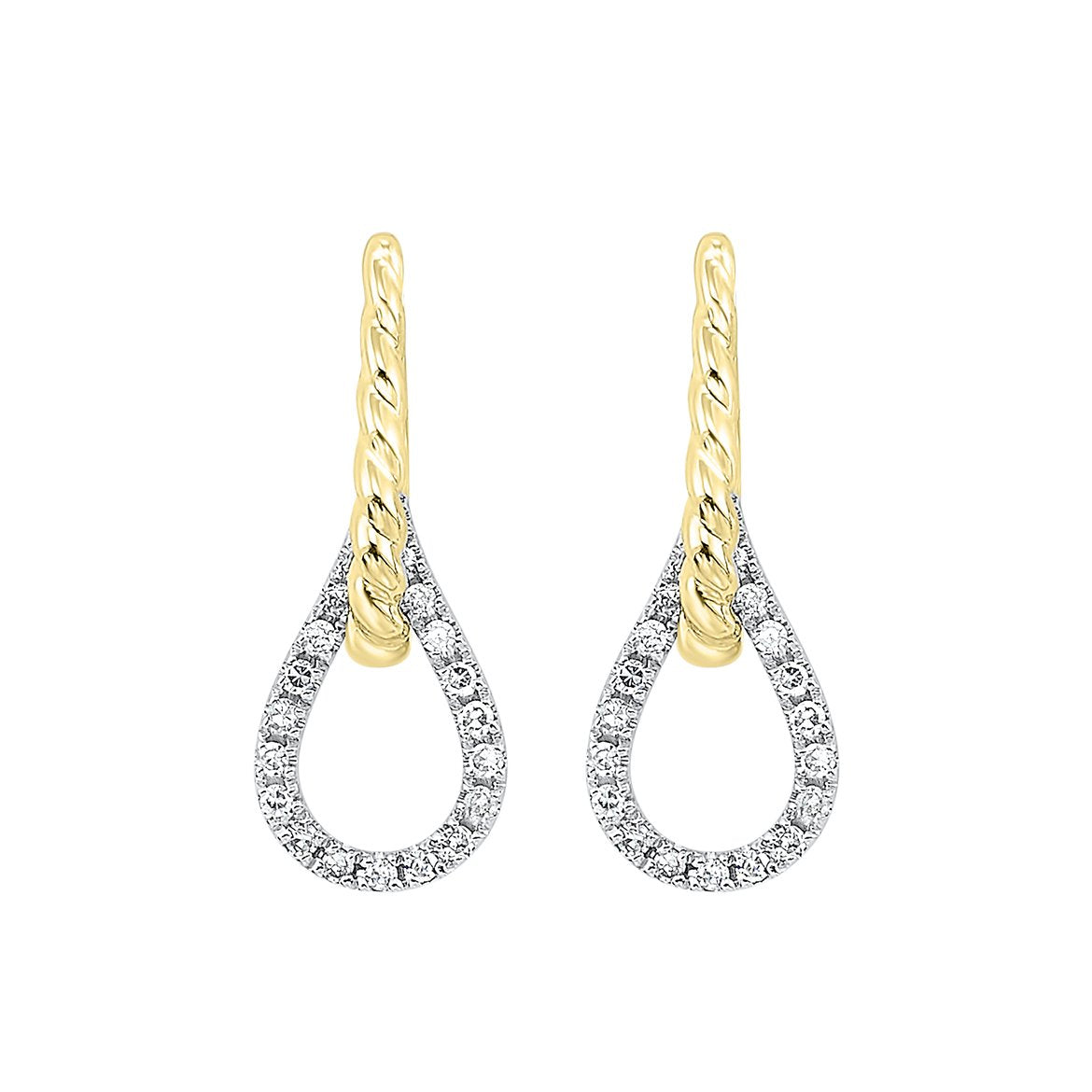 14KT Two-Tone Diamond Earrings 1/10ctw