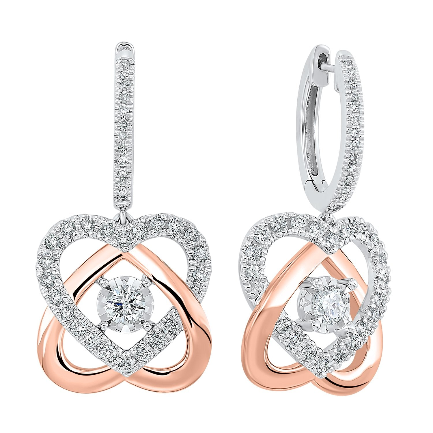 14KT Two-Tone Love's Crossing Diamond Earrings 3/4 ctw