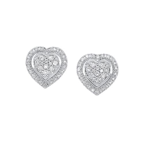 Diamond Halo Heart Cluster Stud Earrings In Sterling Silver (1/5ctw)