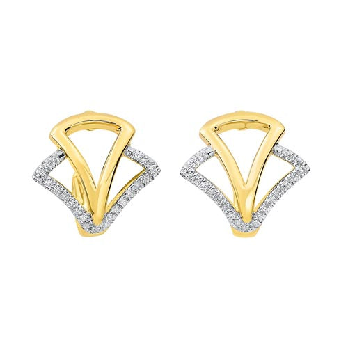 Diamond Geometric Earrings In 14K Yellow Gold (1/8 Ct. Tw.)