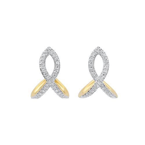 Diamond Ribbon Earrings In 14K Yellow Gold (1/6 Ct. Tw.)