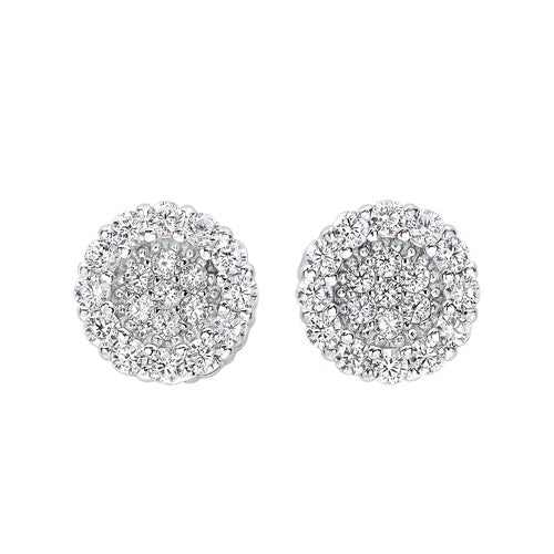 Circle Halo Cluster CZ Earrings In Sterling Silver