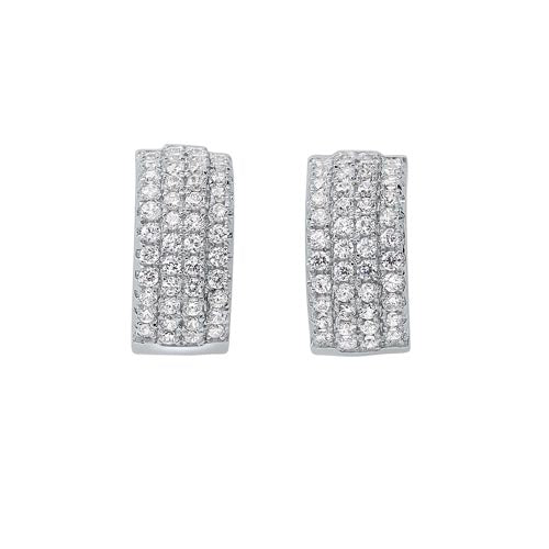 Triple Row Huggie Hoop CZ Earrings In Sterling Silver