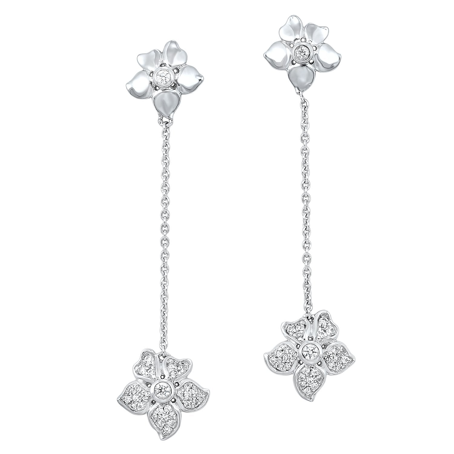 10KT White Gold Flower Earrings 1/4 CTW