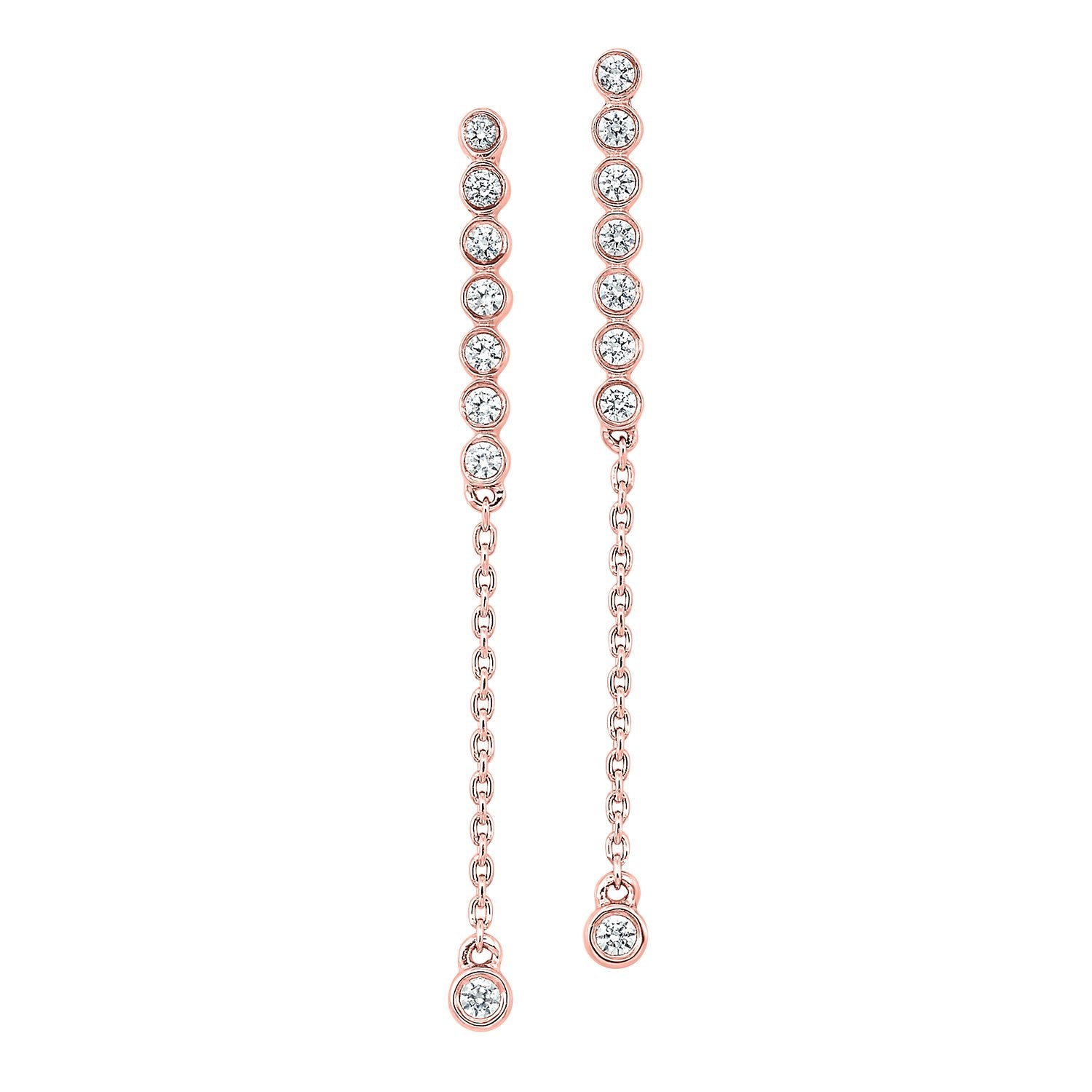 14KT Rose Gold Dangle Earrings 1/5 CTW