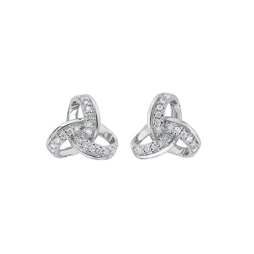 Diamond Knot Earrings In 10K White Gold (1/10 Ct. Tw.)