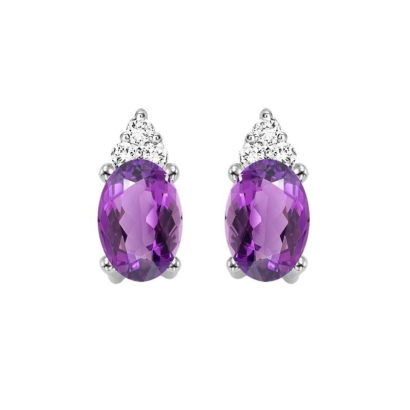10KT White Gold Birthstone Earrings - Amethyst - February
