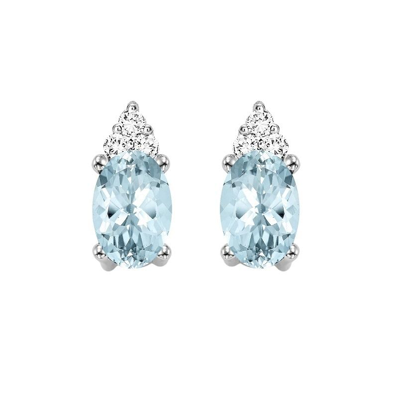 10KT White Gold Birthstone Earrings - Aquamarine - March