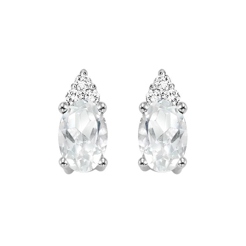 10KT White Gold Birthstone Earrings - White Topaz - April