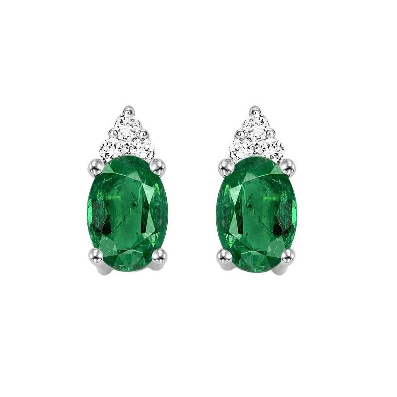 10KT White Gold Birthstone Earrings - Emerald - May