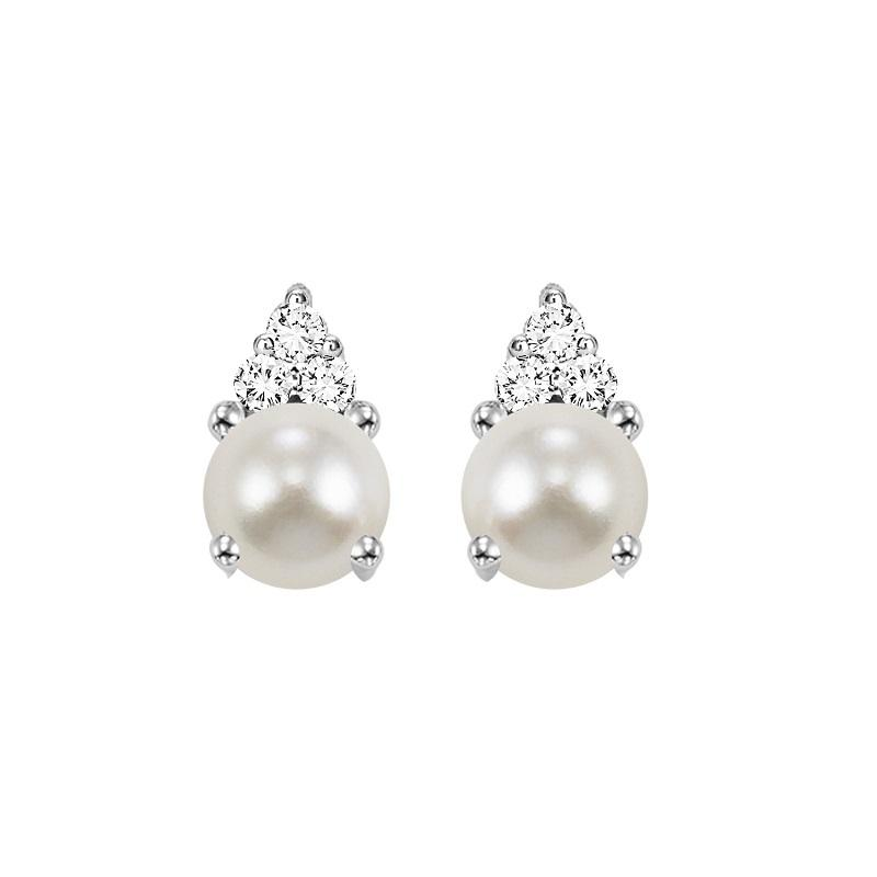 10KT White Gold Birthstone Earrings - Pearl - June