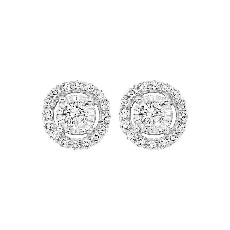 Diamond Solitaire Starburst Stud Earrings In 14k White Gold (1ctw)