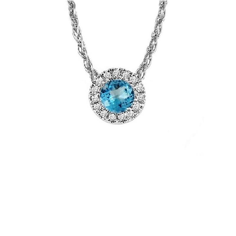 14KT White Gold Mixable Pendant - Blue Topaz - December
