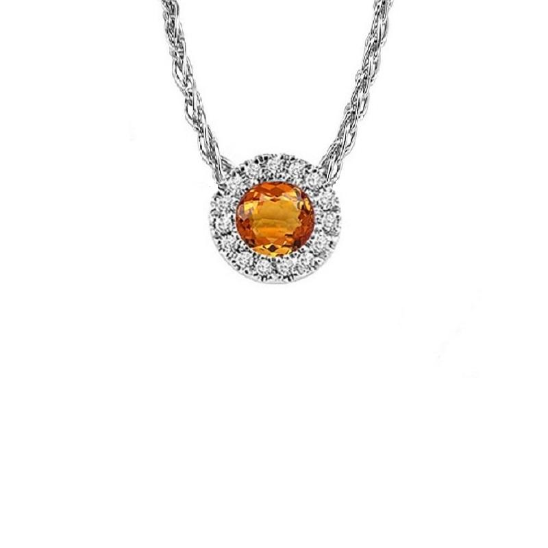 14KT White Gold Mixable Pendant - Citrine - November