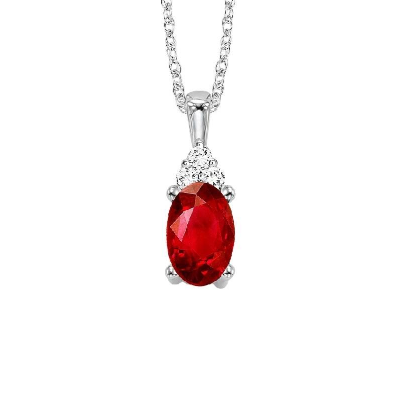 10KT White Gold Birthstone Pendant - Garnet - January