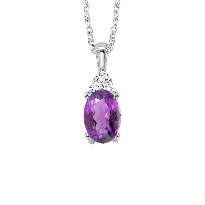 10KT White Gold Birthstone Pendant - Amethyst - February