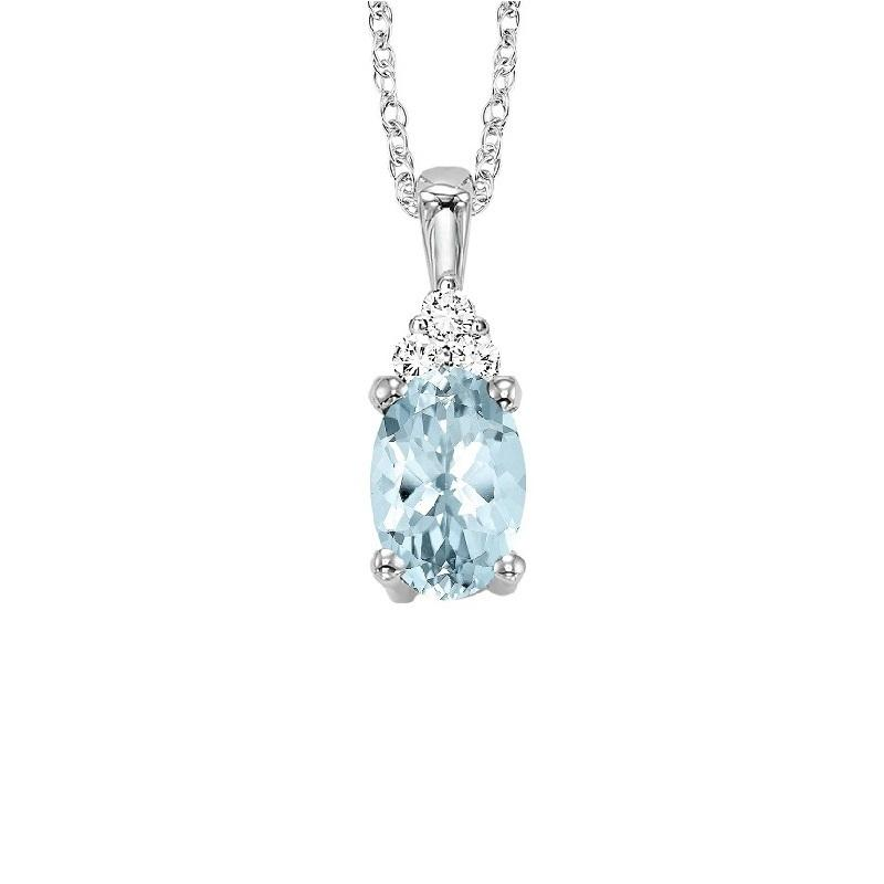 10KT White Gold Birthstone Pendant - Aquamarine - March