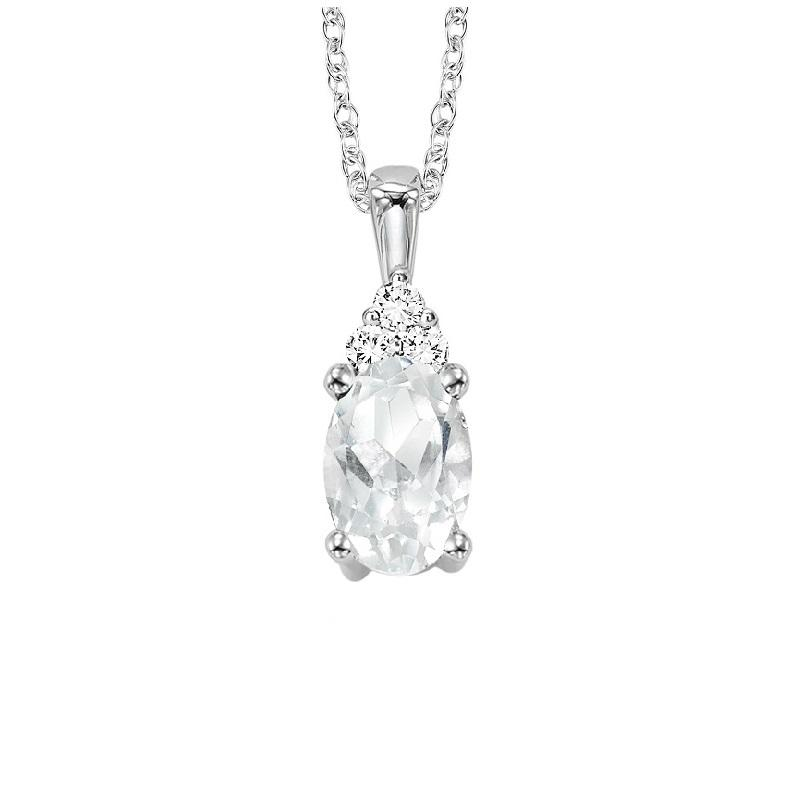 10KT White Gold Birthstone Pendant - White Topaz - April