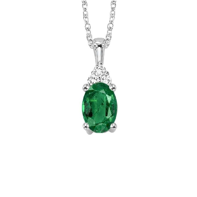 10KT White Gold Birthstone Pendant - Emerald - May
