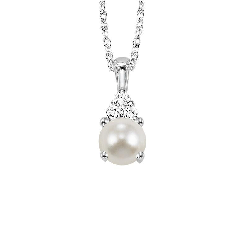 10KT White Gold Birthstone Pendant - Pearl - June