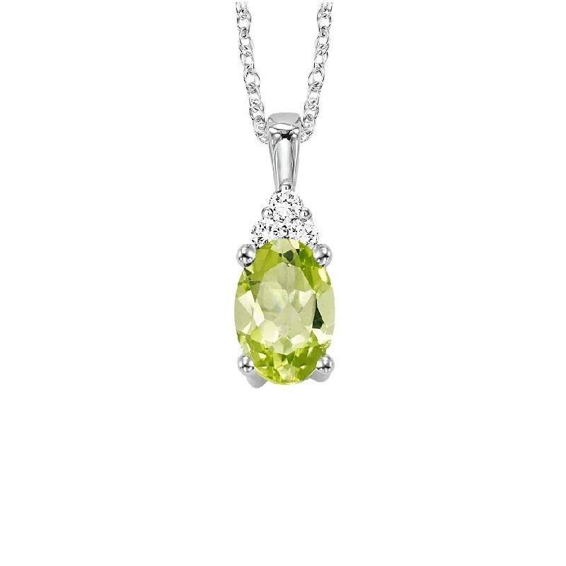 10KT White Gold Birthstone Pendant - Peridot - August