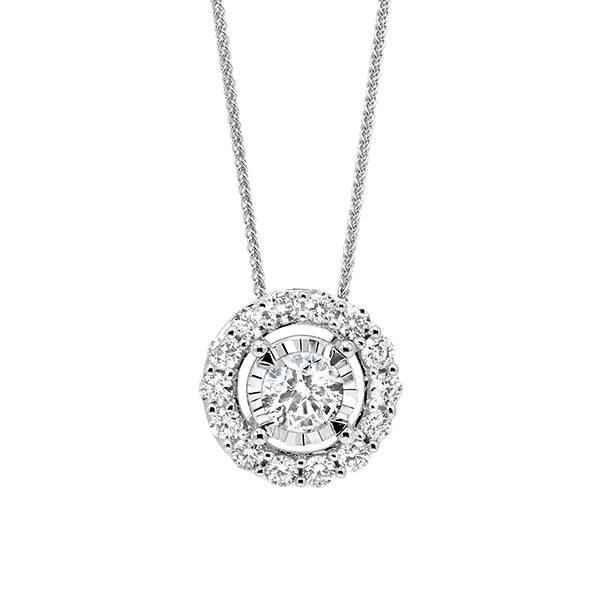 Diamond Halo Solitaire Starburst Pendant Necklace In 14k White Gold (1/10ctw)