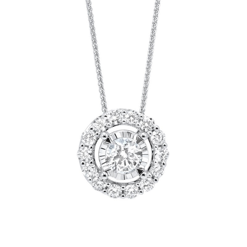Diamond Halo Solitaire Starburst Pendant Necklace In 14k White Gold (1ctw)