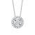 Diamond Halo Solitaire Starburst Pendant Necklace In 14k White Gold (3/4ctw)