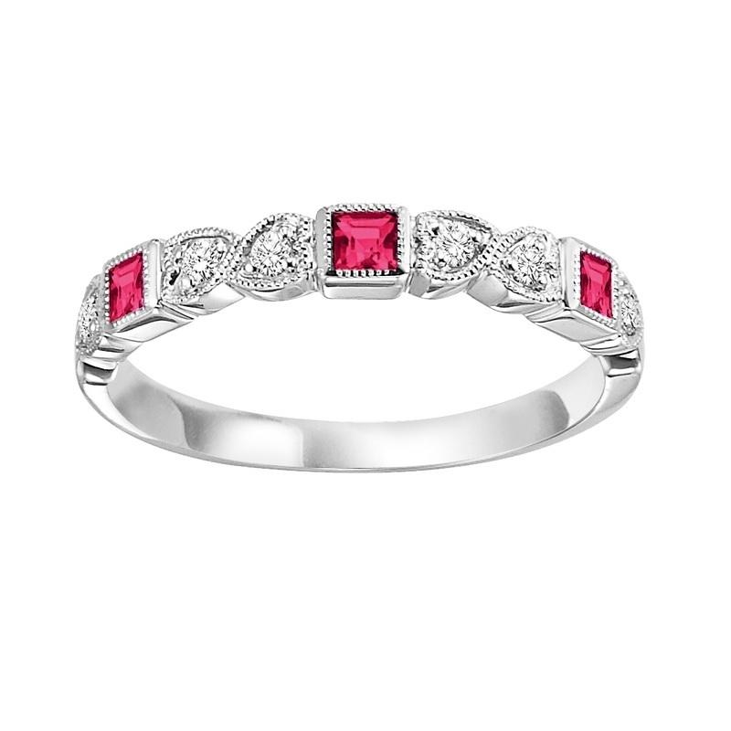 10KT White Gold Birthstone Ring - Ruby