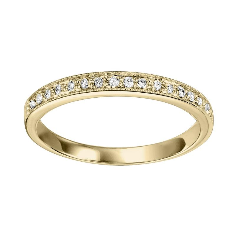 14KT Yellow Gold Stackable Fashion Ring 1/8 CT