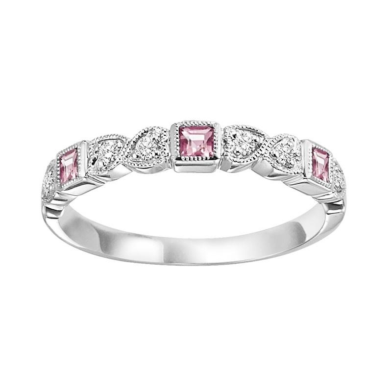 10KT White Gold Birthstone Ring - Pink Tourmaline