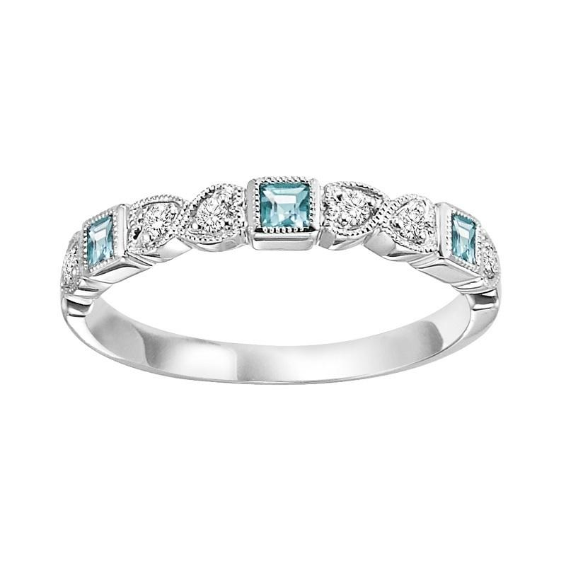 10KT White Gold Birthstone Ring - Blue Topaz