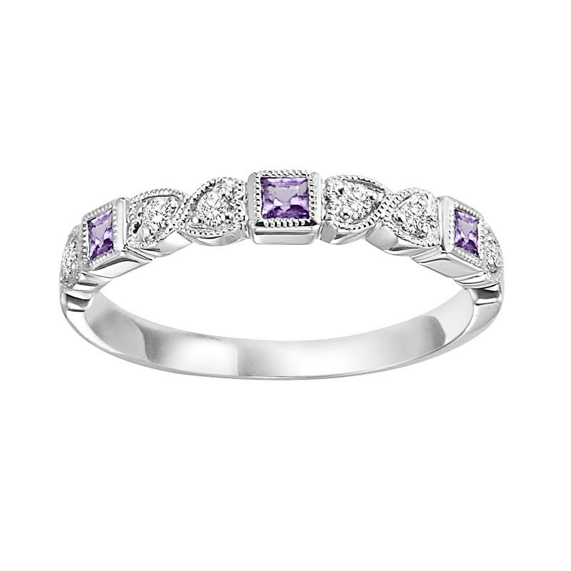 10KT White Gold Birthstone Ring - Amethyst