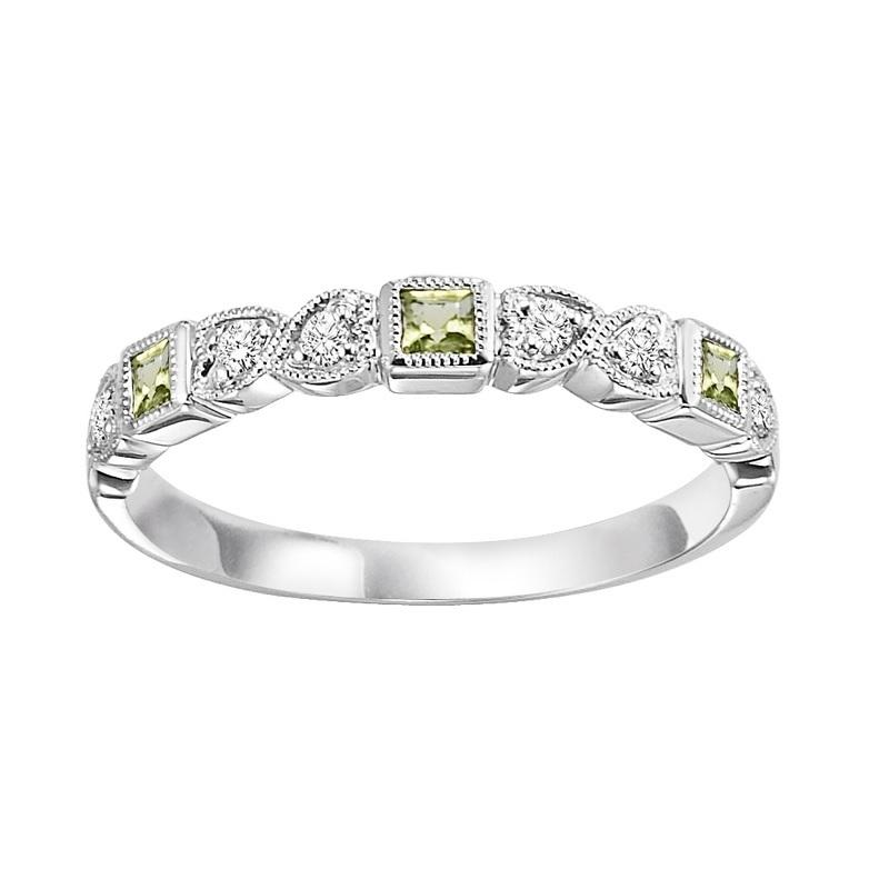 10KT White Gold Birthstone Ring - Peridot