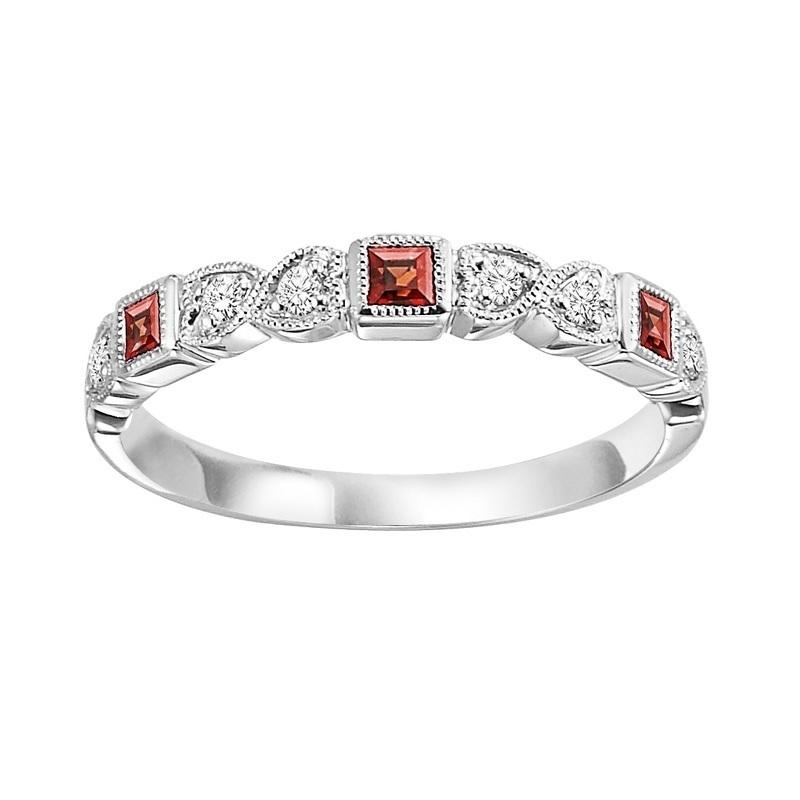 14KT White Gold Mixable Ring - Garnet