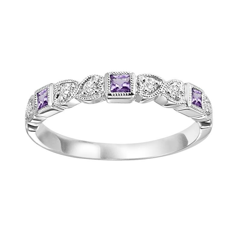 14KT White Gold Mixable Ring - Amethyst