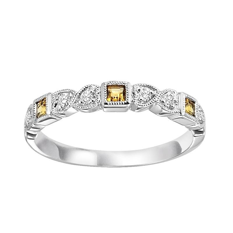 14KT White Gold Mixable Ring - Citrine
