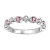 14K White Gold Pink Tourmaline & Diamond Stackable Ring